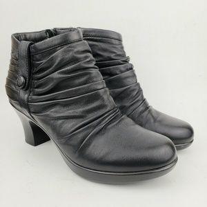 Dansko Black Leather Heeled Ankle Boots 9.5/40